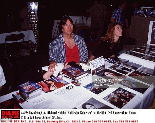 Pasadena CA Richard Hatch with his wife and daughter at the Creation Entertainmentis Grand Slam VI Star Trek Convention