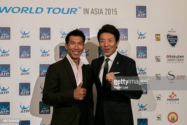 Pasadora Srichapan and Shuzo Matsuoka pose for a picture at ATP World Tour in Asia 2015on October 12 2015 in Shanghai China