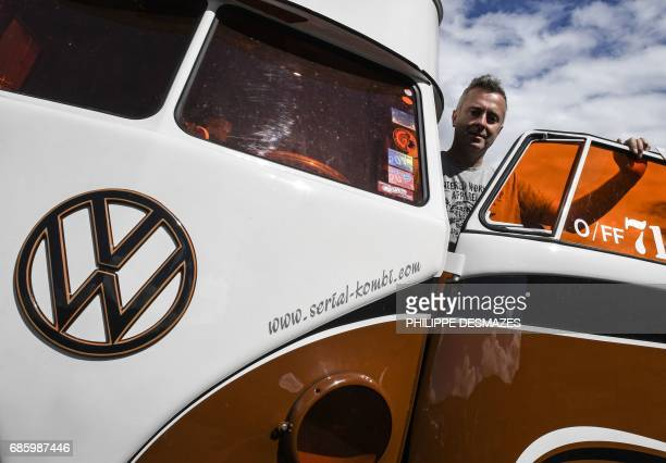 Pascal Amodru managing director of French company SerialKombi specialized in the sales of spare parts of the Volkswagen Kombi van poses during the...
