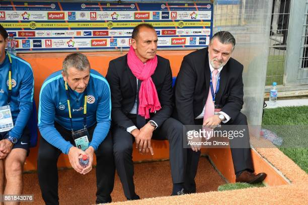 Pascal Baills Assistant Coach and Michel Der Zakarian Coach and Laurent Nicollin President of Montpellier during the Ligue 1 match between...