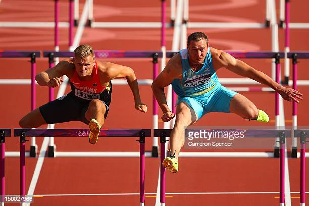 Pascal Behrenbruch of Germany and Dmitriy Karpov of Kazakhstan competesduring the Men's Decathlon 110m Hurdles heats on Day 13 of the London 2012...