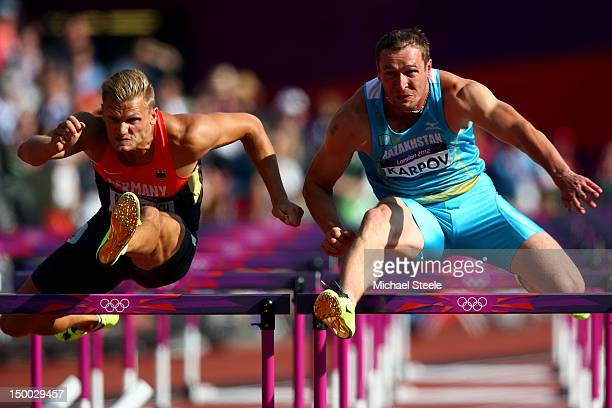 Pascal Behrenbruch of Germany and Dmitriy Karpov of Kazakhstan competes during the Men's Decathlon 110m Hurdles heats on Day 13 of the London 2012...