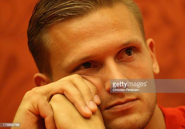 Pascal Behrenbruch of Germany attends a press conference ahead of the 14th IAAF World Championships at the Golden Ring Hotel on August 9 2013 in...