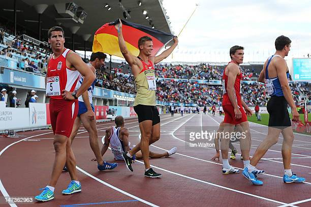 Pascal Behrenbruch of Germany celebrates winning the Men's Decathlon during day two of the 21st European Athletics Championships at the Olympic...
