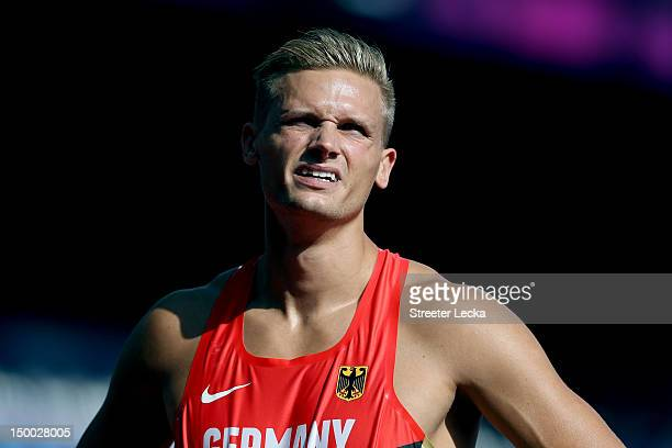 Pascal Behrenbruch of Germany competes during the Men's Decathlon 110m Hurdles heats on Day 13 of the London 2012 Olympic Games at Olympic Stadium on...