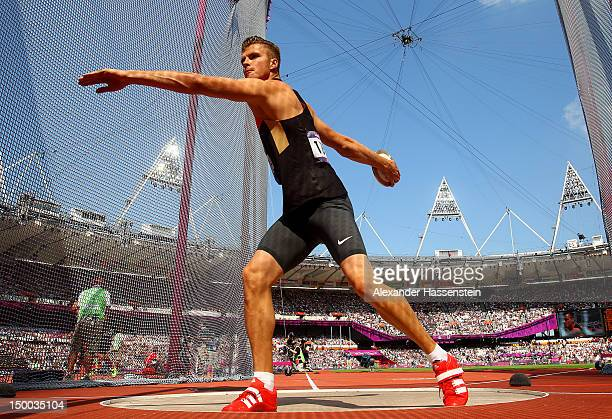 Pascal Behrenbruch of Germany competes during the Men's Decathlon Discus Throw on Day 13 of the London 2012 Olympic Games at Olympic Stadium on...