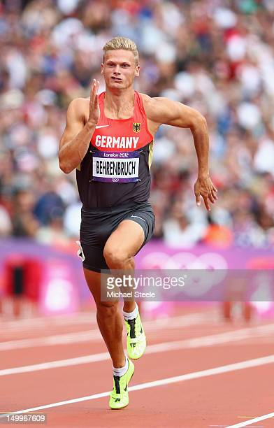 Pascal Behrenbruch of Germany competes in the Men's Decathlon 100m Heats on Day 12 of the London 2012 Olympic Games at Olympic Stadium on August 8...