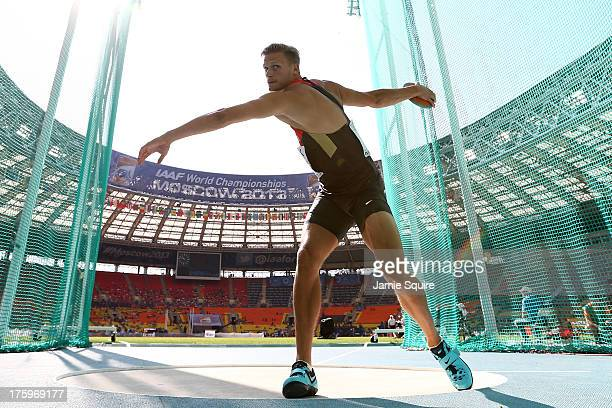 Pascal Behrenbruch of Germany competes in the Men's Decathlon Discus during Day Two of the 14th IAAF World Athletics Championships Moscow 2013 at...
