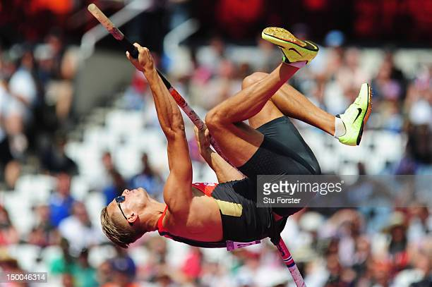 Pascal Behrenbruch of Germany competes in the Men's Decathlon Pole Vault on Day 13 of the London 2012 Olympic Games at Olympic Stadium on August 9...