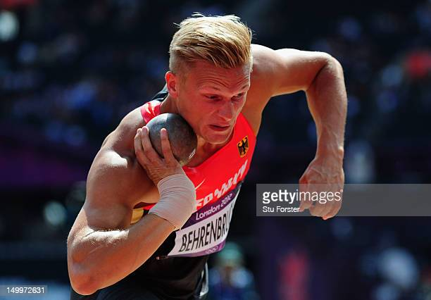 Pascal Behrenbruch of Germany competes in the Men's Decathlon Shot Put on Day 12 of the London 2012 Olympic Games at Olympic Stadium on August 8 2012...