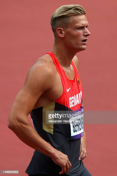 Pascal Behrenbruch of Germany reacts after competing in the Men's Decathlon 100m Heats on Day 12 of the London 2012 Olympic Games at Olympic Stadium...