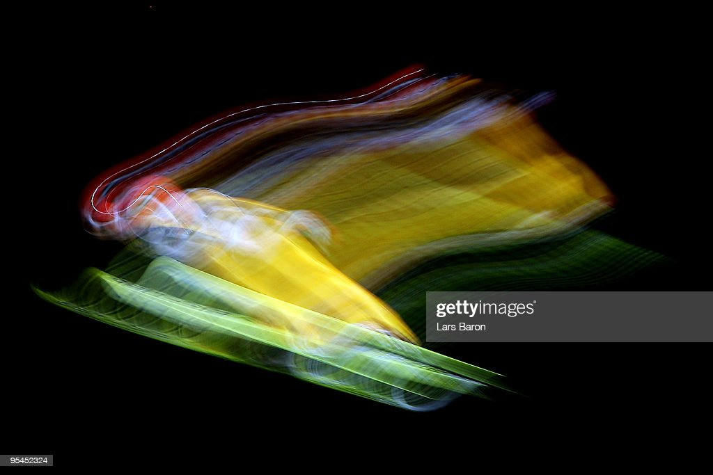 Pascal Bodmer of Germany competes during qualification for the FIS Ski Jumping World Cup event at the 58th Four Hills ski jumping tournament at Erdinger Arena on December 28, 2009 in Oberstdorf, Germany.