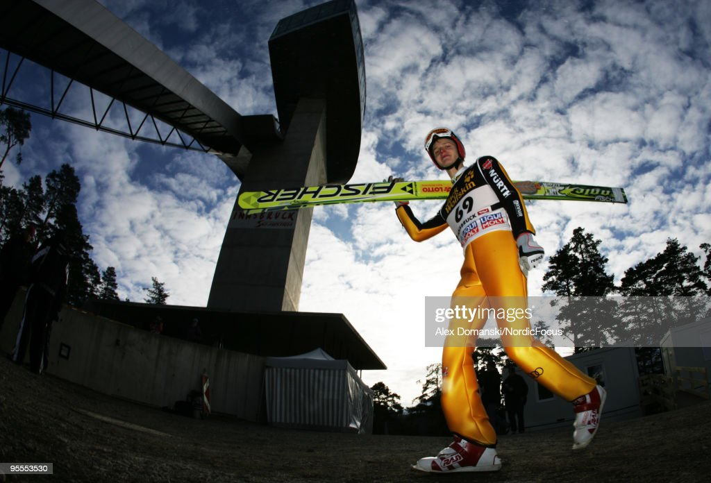 Pascal Bodmer of Germany walks up the jumping hill of the FIS Ski Jumping World Cup event of the 58th Four Hills ski jumping tournament on January 3, 2010 in Innsbruck, Austria.