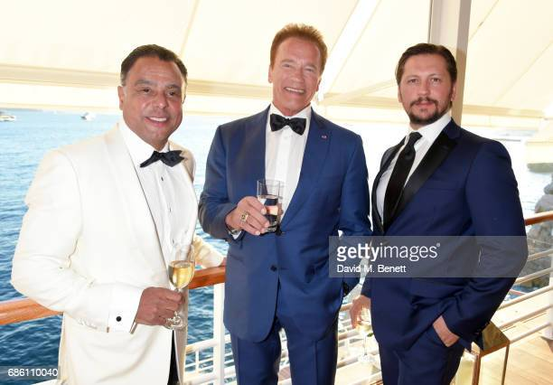 Pascal Borno Arnold Schwarzenegger and Michele Malenotti attend the Vanity Fair and HBO Dinner celebrating the Cannes Film Festival at Hotel du...