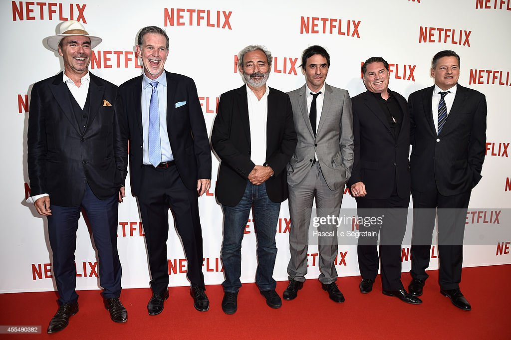 Pascal Breton, Netflix Co Founder and CEO <a gi-track='captionPersonalityLinkClicked' href=/galleries/search?phrase=Reed+Hastings&family=editorial&specificpeople=3798482 ng-click='$event.stopPropagation()'>Reed Hastings</a>, Dan Franck, <a gi-track='captionPersonalityLinkClicked' href=/galleries/search?phrase=Samuel+Benchetrit&family=editorial&specificpeople=2856392 ng-click='$event.stopPropagation()'>Samuel Benchetrit</a>, Florent Emilio-Siri and Netflix chief content officer <a gi-track='captionPersonalityLinkClicked' href=/galleries/search?phrase=Ted+Sarandos&family=editorial&specificpeople=2137714 ng-click='$event.stopPropagation()'>Ted Sarandos</a> attend the 'Netflix' Launch Party at Le Faust on September 15, 2014 in Paris, France.