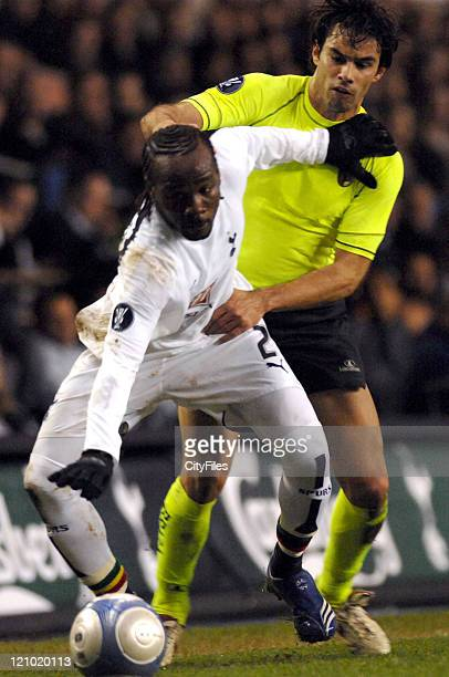 Pascal Chimbonda in action during the UEFA Cup second leg round of 16 football match between Tottenham vs SC Braga at White Hart Lane on March 14 2007