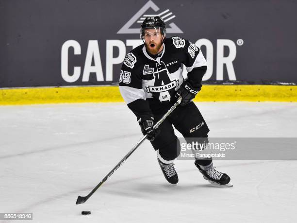 Pascal Corbeil of the BlainvilleBoisbriand Armada skates the puck against the RouynNoranda Huskies during the QMJHL game at Centre d'Excellence...