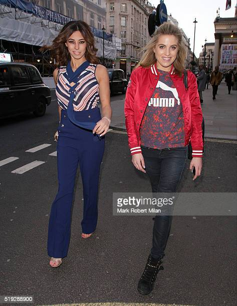 Pascal Craymer and Olivia Cox attend Rosina's Lotions and Potions launch party at Mint Leaf on April 5 2016 in London England