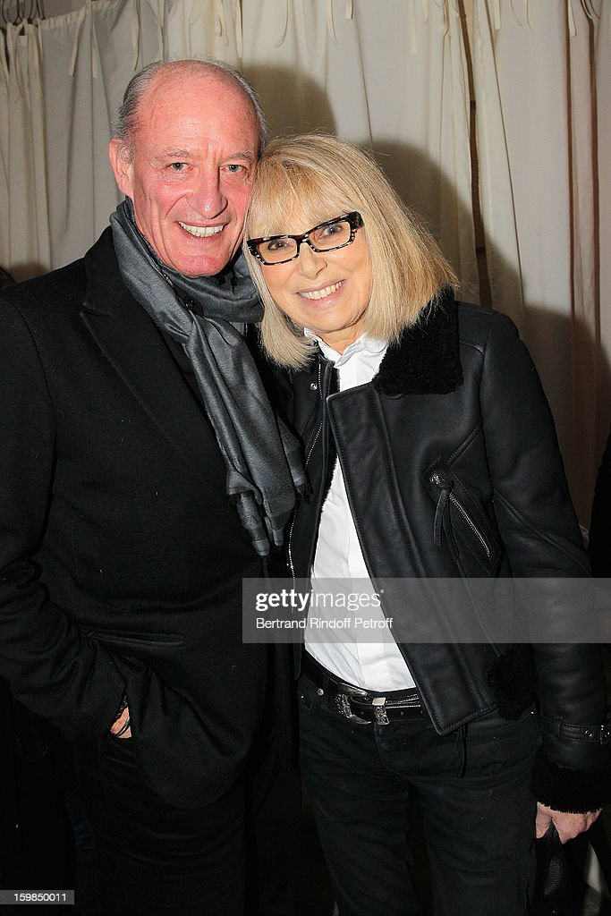 Pascal Desprez (L) and <a gi-track='captionPersonalityLinkClicked' href=/galleries/search?phrase=Mireille+Darc&family=editorial&specificpeople=1512607 ng-click='$event.stopPropagation()'>Mireille Darc</a> attend 'La Petite Maison De Nicole' Inauguration Cocktail at Hotel Fouquet's Barriere on January 21, 2013 in Paris, France.