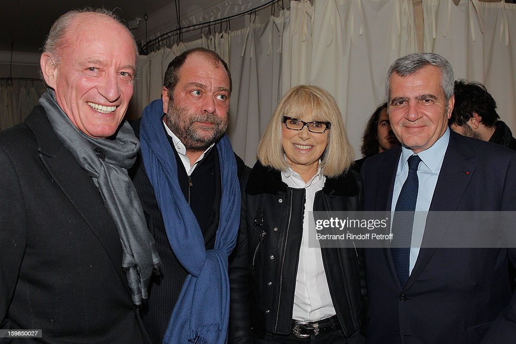 Pascal Desprez, Eric Dupont-Moretti, <a gi-track='captionPersonalityLinkClicked' href=/galleries/search?phrase=Mireille+Darc&family=editorial&specificpeople=1512607 ng-click='$event.stopPropagation()'>Mireille Darc</a> and Thierry Herzog attend 'La Petite Maison De Nicole' Inauguration Cocktail at Hotel Fouquet's Barriere on January 21, 2013 in Paris, France.