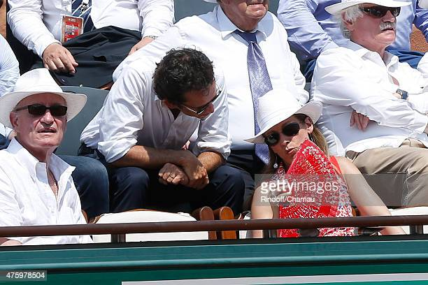 Pascal Desprez Miss Manule Valls Violonist Anne Gravoin and CEO of Fnac Alexandre Bompard attend the 2015 Roland Garros French Tennis Open Day...