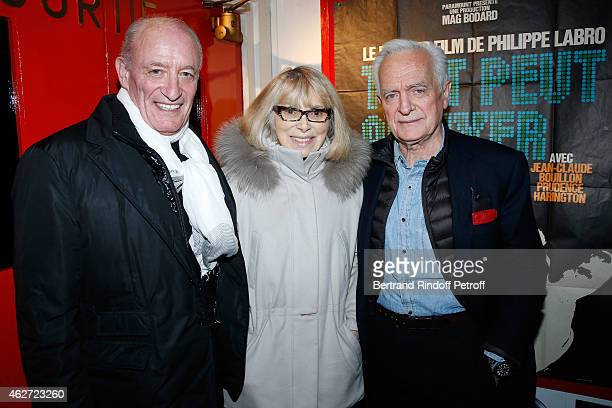 Pascal Desprez with his wife actress Mireille Darc and Journalist and Director Philippe Labro attend the Private Screening of the Movie 'Tout Peut...