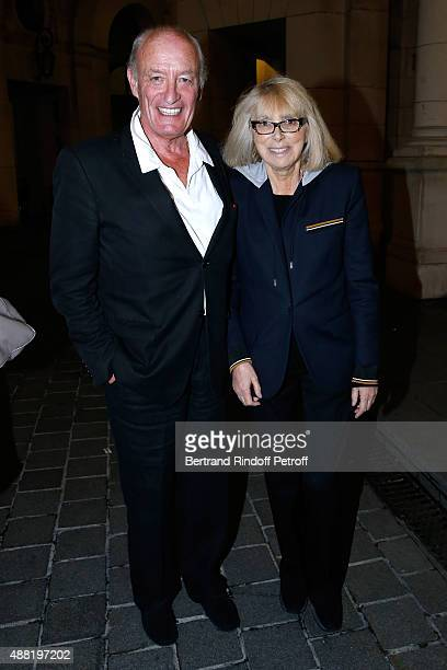 Pascal Desprez with his wife actress Mireille Darc attend 'Le Mensonge' Theater Play Held at Theatre Edouard VII on September 14 2015 in Paris France