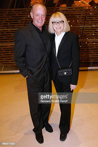 Pascal Desprez with his wife actress Mireille Darc attend the 'Fondation Claude Pompidou' Charity Party at Fondation Louis Vuitton on December 16...
