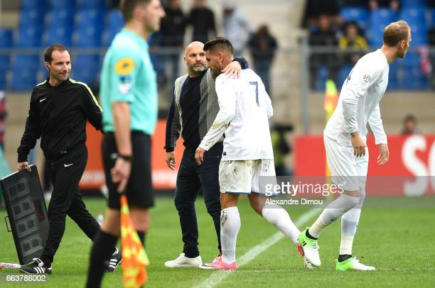 Pascal Dupraz Coach and Andy Delort of Toulouse during the French Ligue 1 match between Montpellier and Toulouse at Stade de la Mosson on April 2...
