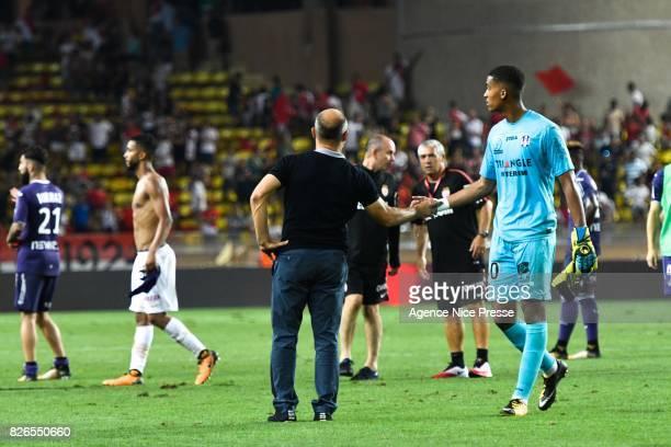 Pascal Dupraz head coach and Alban Lafont of Toulouse during the Ligue 1 match between AS Monaco and Toulouse at Stade Louis II on August 4 2017 in...