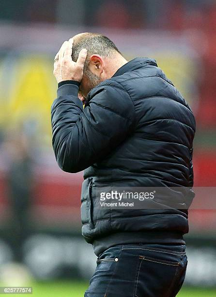 Pascal Dupraz headcoach of Toulouse during the French Ligue 1 match between Rennes and Toulouse at Roazhon Park on November 25 2016 in Rennes France