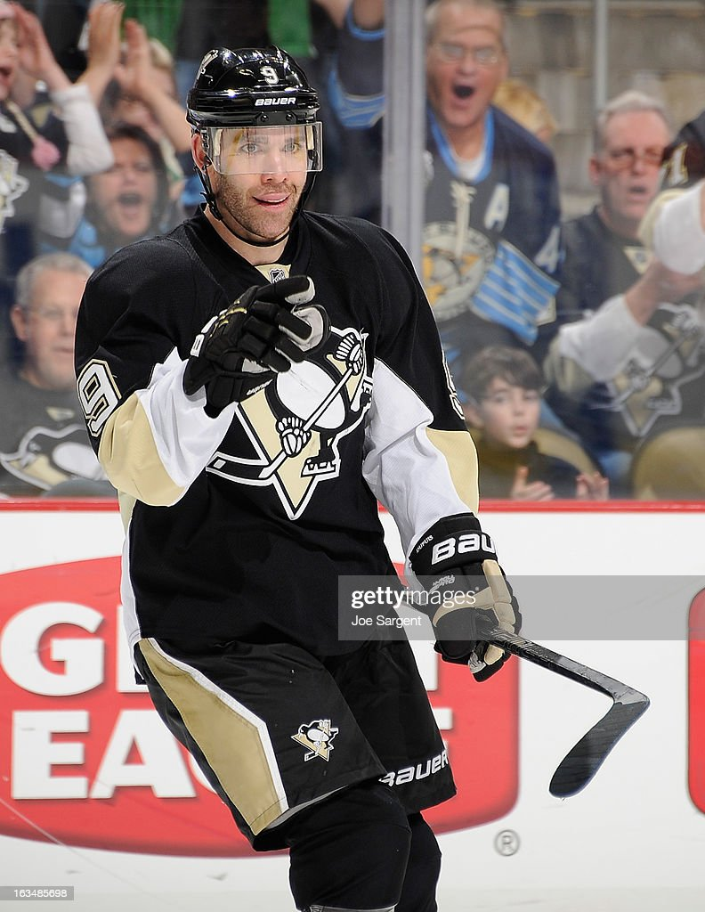 <a gi-track='captionPersonalityLinkClicked' href=/galleries/search?phrase=Pascal+Dupuis&family=editorial&specificpeople=208971 ng-click='$event.stopPropagation()'>Pascal Dupuis</a> #9 of the Pittsburgh Penguins celebrates his second goal of the game during the third period against the New York Islanders on March 10, 2013 at Consol Energy Center in Pittsburgh, Pennsylvania. Pittsburgh won the game 6-1.