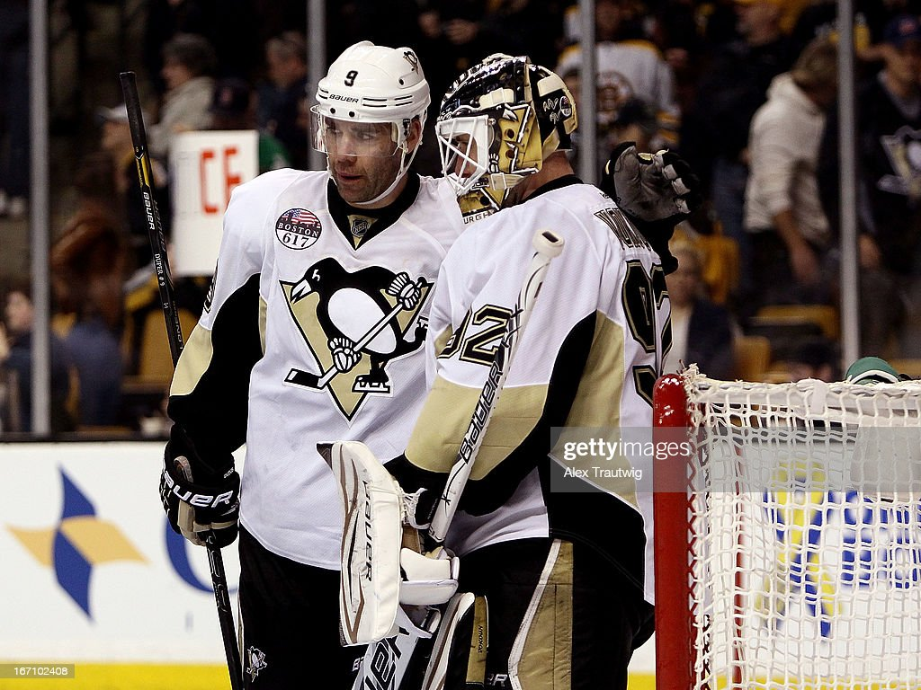 Pascal Dupuis #9 of the Pittsburgh Penguins congratulates teammate Tomas Vokoun #92 after defeating the Boston Bruins 3-2 at the TD Garden on April 20, 2013 in Boston, Massachusetts.