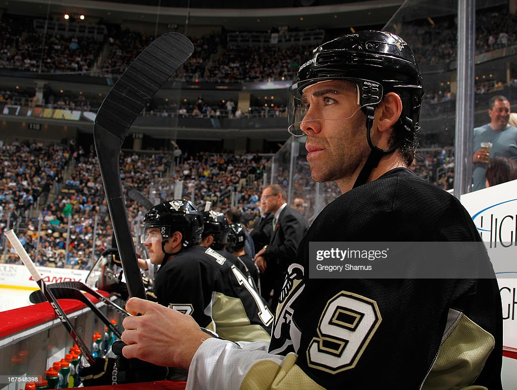 Pascal Dupuis #9 of the Pittsburgh Penguins looks on against the Buffalo Sabres on April 23, 2013 at Consol Energy Center in Pittsburgh, Pennsylvania.