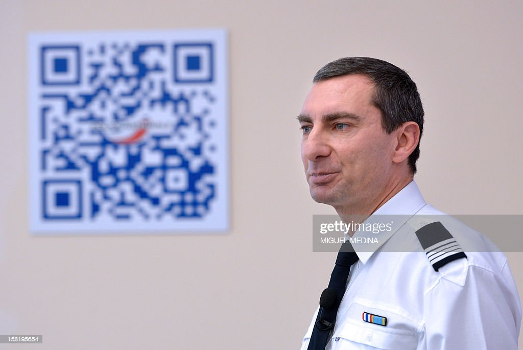 Pascal Garibian, spokesman of the French National Police presents the development of the Police visibility on the Internet and its entry on social networks on December 11, 2012 in Paris.