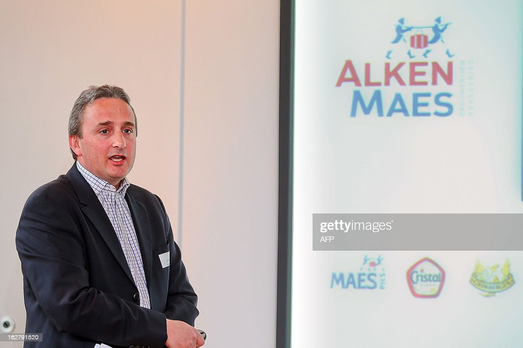 Pascal Gilet Managing Director of Belgian brewery group Alken Maes gives a press conference in Vilvoorde on February 27, 2013. AFP PHOTO / BELGA / BRUNO FAHY