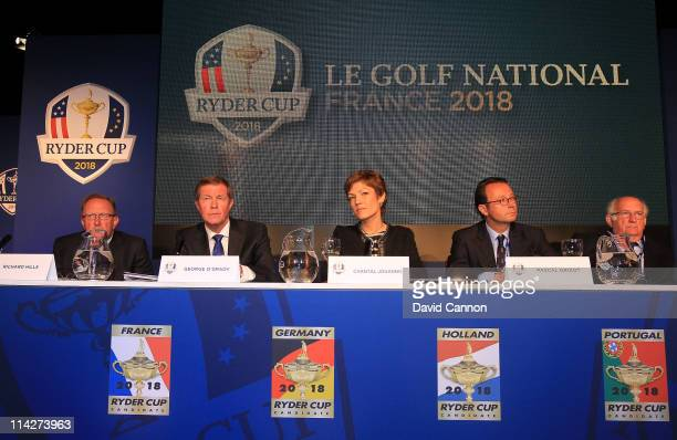 Pascal Grizot of France the Chairman of the French Ryder Cup Bid Chantal Jouanno the French Minister for Sport George O'Grady Chief Executive of the...