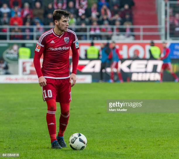 Pascal Groß of Ingolstadt with ball during the Bundesliga match between FC Ingolstadt 04 and Bayern Muenchen at Audi Sportpark on February 11 2017 in...