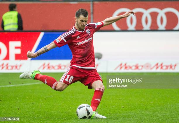 Pascal Groß of Ingolstadt with ball during the Bundesliga match between FC Ingolstadt 04 and Werder Bremen at Audi Sportpark on April 22 2017 in...