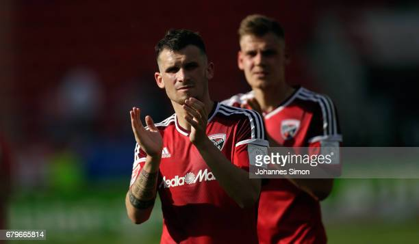 Pascal Gross and Max Christiansen of Ingolstadt react dejected after the Bundesliga match between FC Ingolstadt 04 and Bayer 04 Leverkusen at Audi...