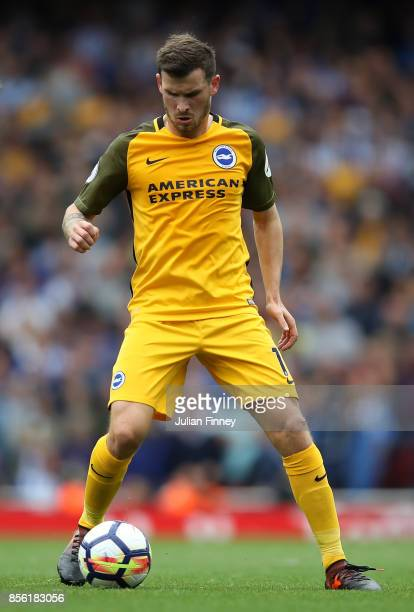 Pascal Gross of Brighton and Hove Albion in action during the Premier League match between Arsenal and Brighton and Hove Albion at Emirates Stadium...