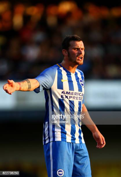 Pascal Gross of Brighton Hove Albion signals to his teammates during the preseason friendly match between Southend United and Brighton Hove Albion at...