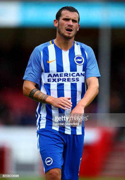Pascal Gross of Brighton looks on during the Pre Season Friendly match between Crawley Town and Brighton Hove Albion at Broadfield Stadium on July 22...