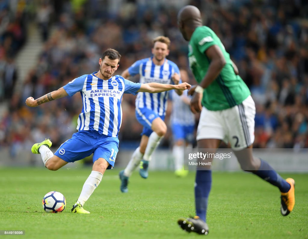 Pascal Gross of Brighton scores his second goal during the Premier League match between Brighton and Hove Albion and West Bromwich Albion at Amex Stadium on September 9, 2017 in Brighton, England.