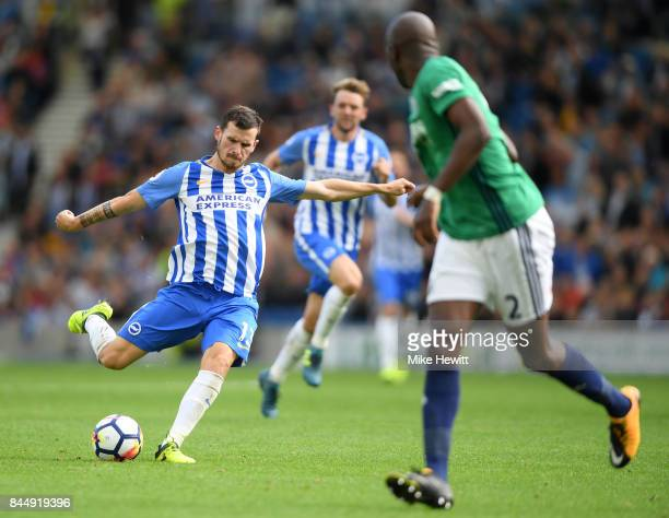 Pascal Gross of Brighton scores his second goal during the Premier League match between Brighton and Hove Albion and West Bromwich Albion at Amex...