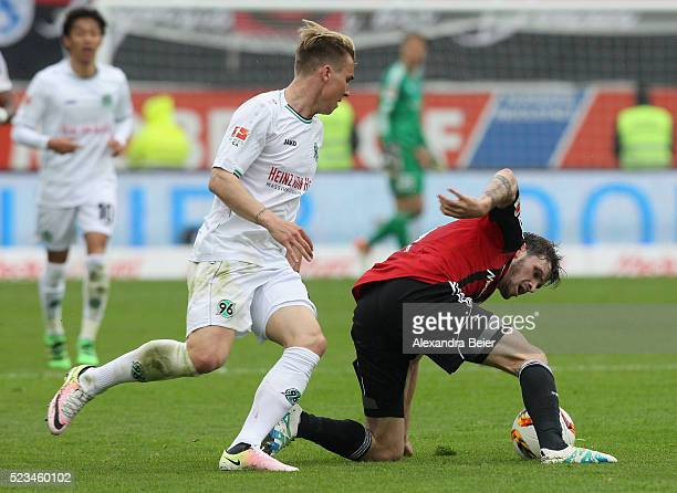 Pascal Gross of FC Ingolstadt fights for the ball with Felix Klaus of Hannover 96 during the Bundesliga match between FC Ingolstadt and Hannover 96...
