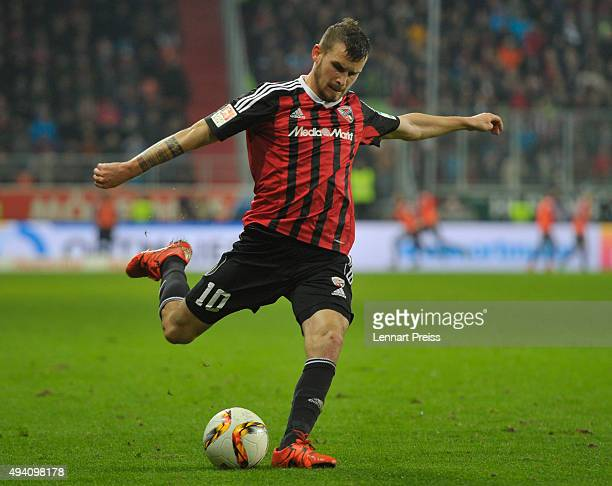 Pascal Gross of FC Ingolstadt in action during the Bundesliga match between FC Ingolstadt and Hertha BSC at Audi Sportpark on October 24 2015 in...