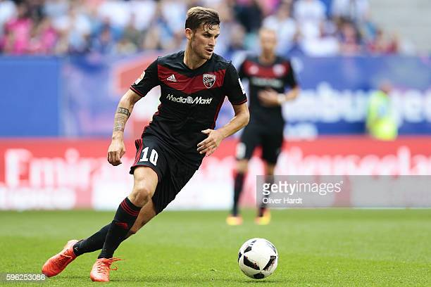 Pascal Gross of Ingoldstadt in action during the Bundesliga match between Hamburger SV and FC Ingolstadt 04 at Volksparkstadion on August 27 2016 in...