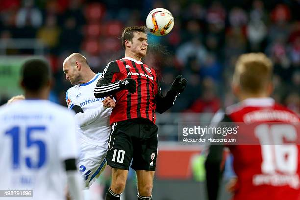 Pascal Gross of Ingolstadt battles for the ball with Luca Caldirola of Darmstadt during the Bundesliga match between FC Ingolstadt and SV Darmstadt...