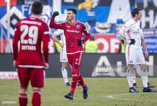 Pascal Gross of Ingolstadt celebrates after scoring the opening goal during the Bundesliga match between FC Ingolstadt 04 and Hamburger SV at Audi...